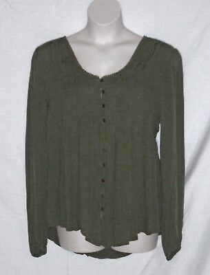 KNOX ROSE \u2013 TOP \u2013 LONG SLEEVE BABY DOLL \u2013 KHAKI GREEN \u2013 SIZE XXL (2X) \u2013 NWT  $49