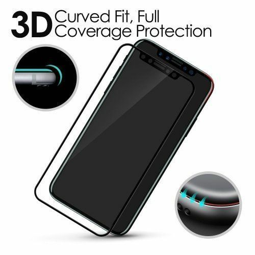 For Apple iPhone X(10) 3D CURVED BLACK Full Tempered Glass Screen Edge Protector