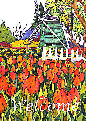 Toland Windmill And Tulips 28 X 40 Welcome Flowers Spring House Flag 17917642063 Ebay