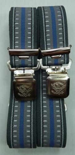 Biker Hosentäger grau-blau,35mm breit Hosenträger extra starker Alligator