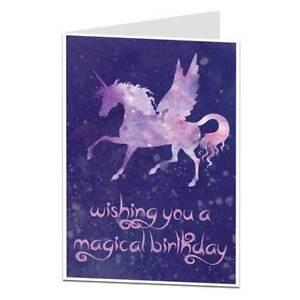 Image Is Loading Unicorn Happy Birthday Card For Women Girls Cosmic
