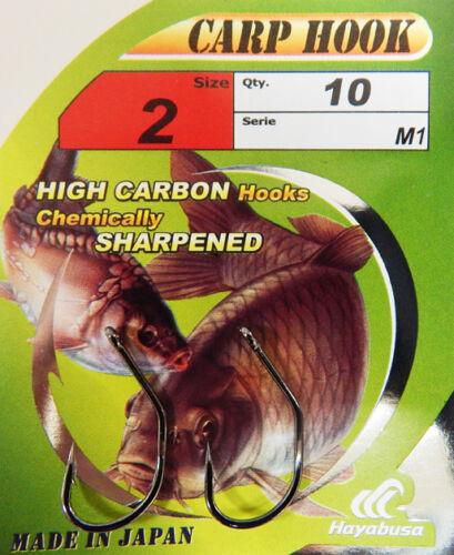 Hayabusa M-1 Karpfenangeln Haken Geringelt Größen 2 4 6 10 Hooks pro Packung