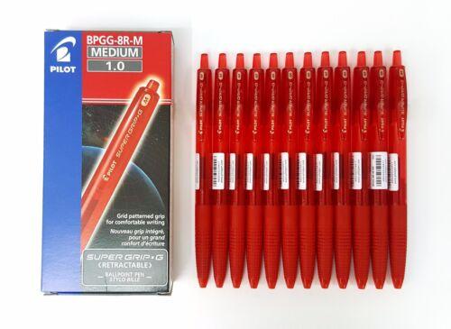 Pilot Super Grip G BPGG-8R-M-RR 1.0mm Red Retractable Ballpoint Pen 12pcs