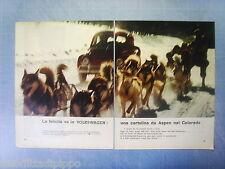 QUATTROR966-PUBBLICITA'/ADVERTISING-1966- VOLKSWAGEN DA ASPEN COLORADO -2 fogli