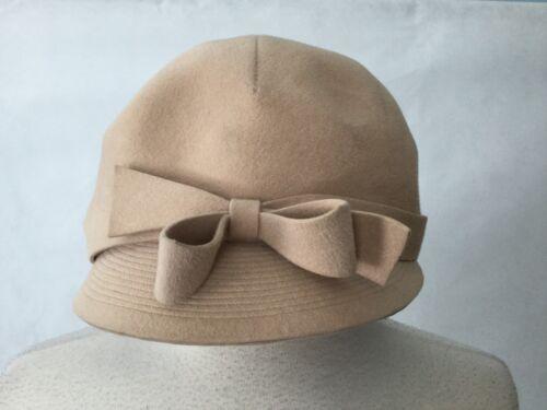 Vintage Felt Newsboy Cap With Bow Ladies Size 6 Fr