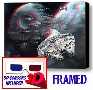 Star Wars Millennium Falcon Death Star Framed 3D Limited Edition Print +glasses