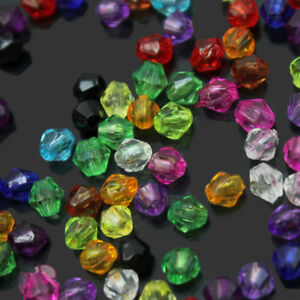 200Pcs-4mm-Variety-Of-Colors-Mixed-Acrylic-Bicone-Bead-Spacer-Crafts-In-Bulk