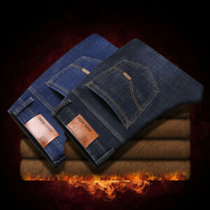 Men-Slim-Thick-Velvet-Denim-Winter-Jeans-Pants-Warm-Casual-Fleece-Lined-Trousers