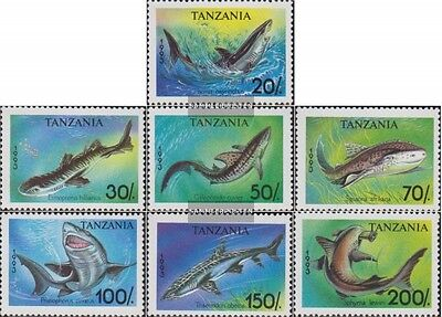 Unmounted Mint Tanzania 1583-1589 Never Hinged 1993 Sharks Lustrous complete.issue.