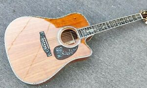 Solid-Koa-Top-D45-Cutaway-Acoustic-Electric-Guitar-W-Abalone-Inlay