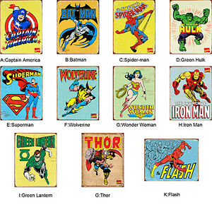 Vintage Marvel Collection Print Stickers Kids Room Wall Decor Art