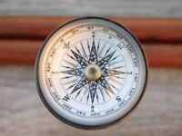 Compass Cane Stick Wooden Walking Stick Brass