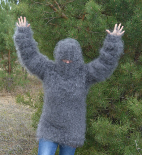 Sweater Fuzzy super long sleeve attached balaclava 100/% Goat Down Mohair FETISH