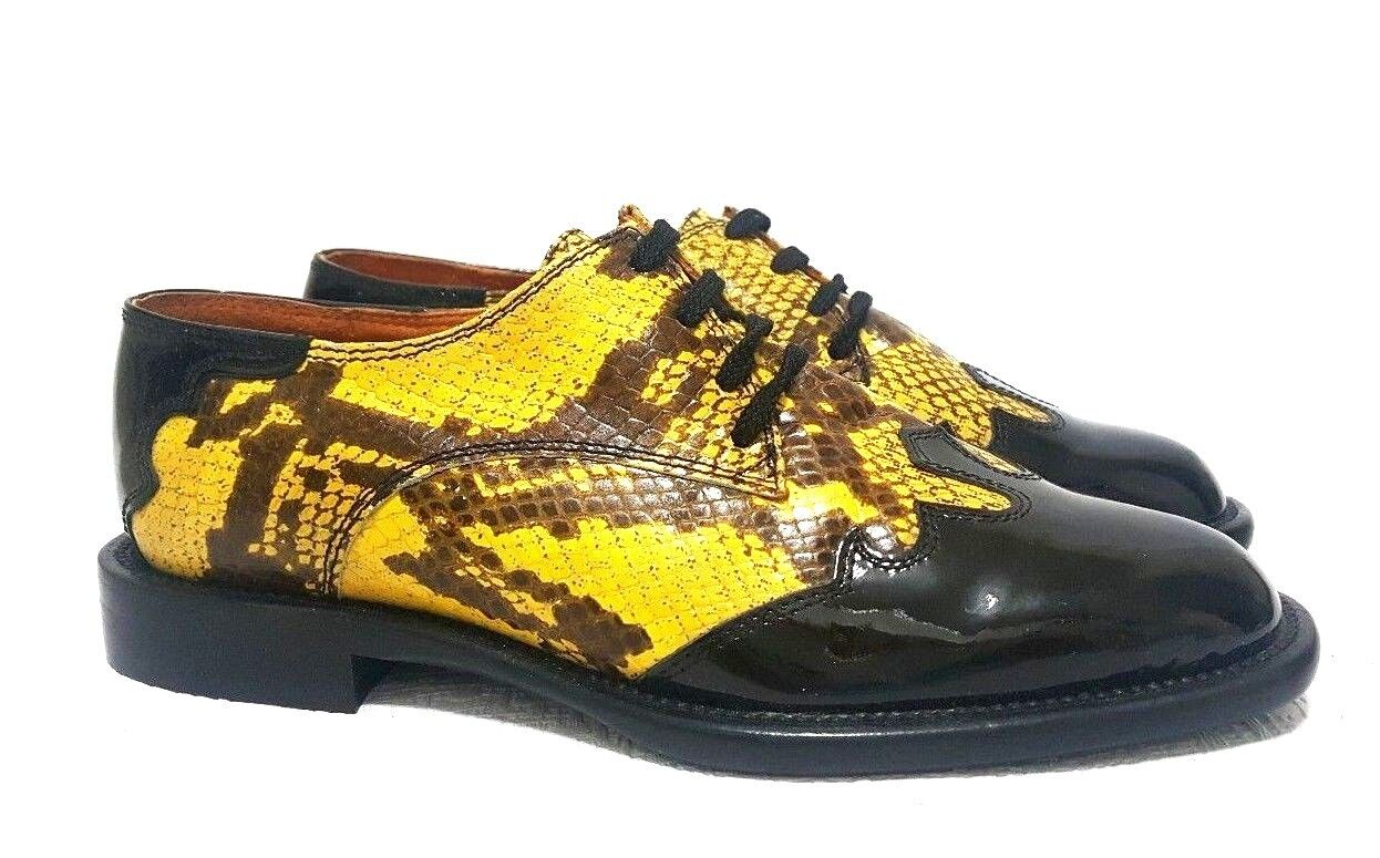 Tino Lanzi Cuero Italiano Para Mujer Oxford Zapatos Amarillo Talla 36.5 Negro Amarillo Zapatos cad91e