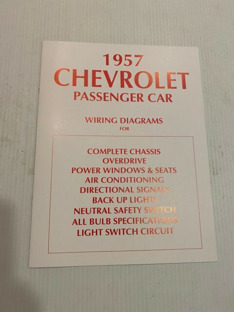 1957 6 Page Wiring Diagram Booklet Manual Book Chevrolet
