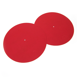 Pair of red DJ Turntable Slipmats