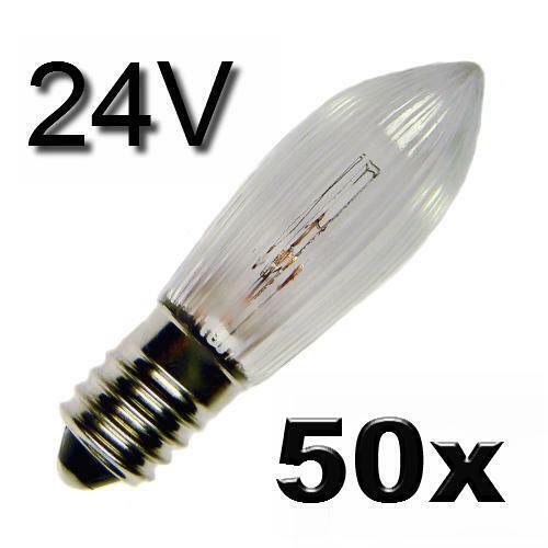 50x Topkerze Lichterkette Weihnachten Party Lampe Birne Ersatz E10 24V 3W