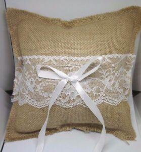 Wedding Party Bridal LACE LINEN RING PILLOW Cushion Bearer