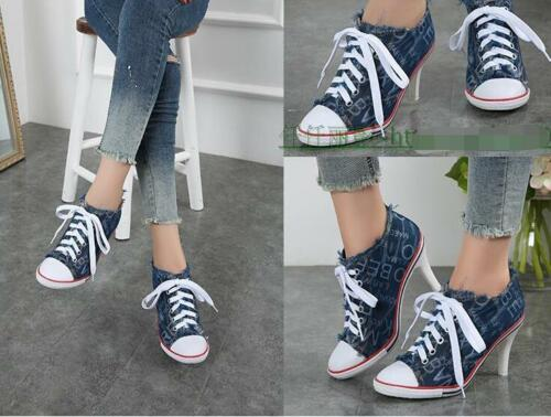 Womens Letters Denim Pointed Toe Lace Up High Heel Ankle Boots Pumps Shoes Girls