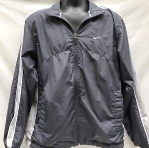 NIKE-Vintage-90s-Gray-Windbreaker-Jacket-Zip-Front-Mens-Medium