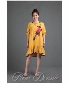 DRESS EMBROIDERED (YELLOW)