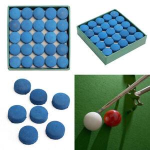50Pcs-Glue-on-Pool-Billiards-Leather-Blue-Cue-Tips-Box-Game-Sport-9mm-UK-G-K