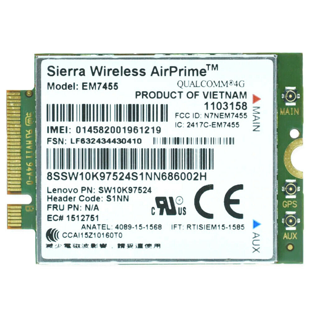 EM7455 USA 4G LTE Wireless Card for Lenovo ThinkPad X1 Tablet Yoga M.2 Mobile