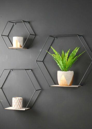 Set of 3 Hexagon Wall Shelves Industrial Style Metal Wood Shelving Shelf