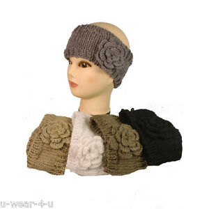 e8a1c09306f Image is loading LADIES-CHUNKY-KNITTED-HEADBAND-HAIRBAND-FLOWER-ROSE-WINTER-