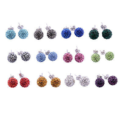 12 PAIR Stainless Steel Shamballa Crystal Disco Ball Stud Earring Wholesale Lot