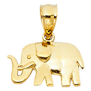 14K-New-Solid-Yellow-Gold-Elephant-Pendant-Good-Luck-Lucky-Charm