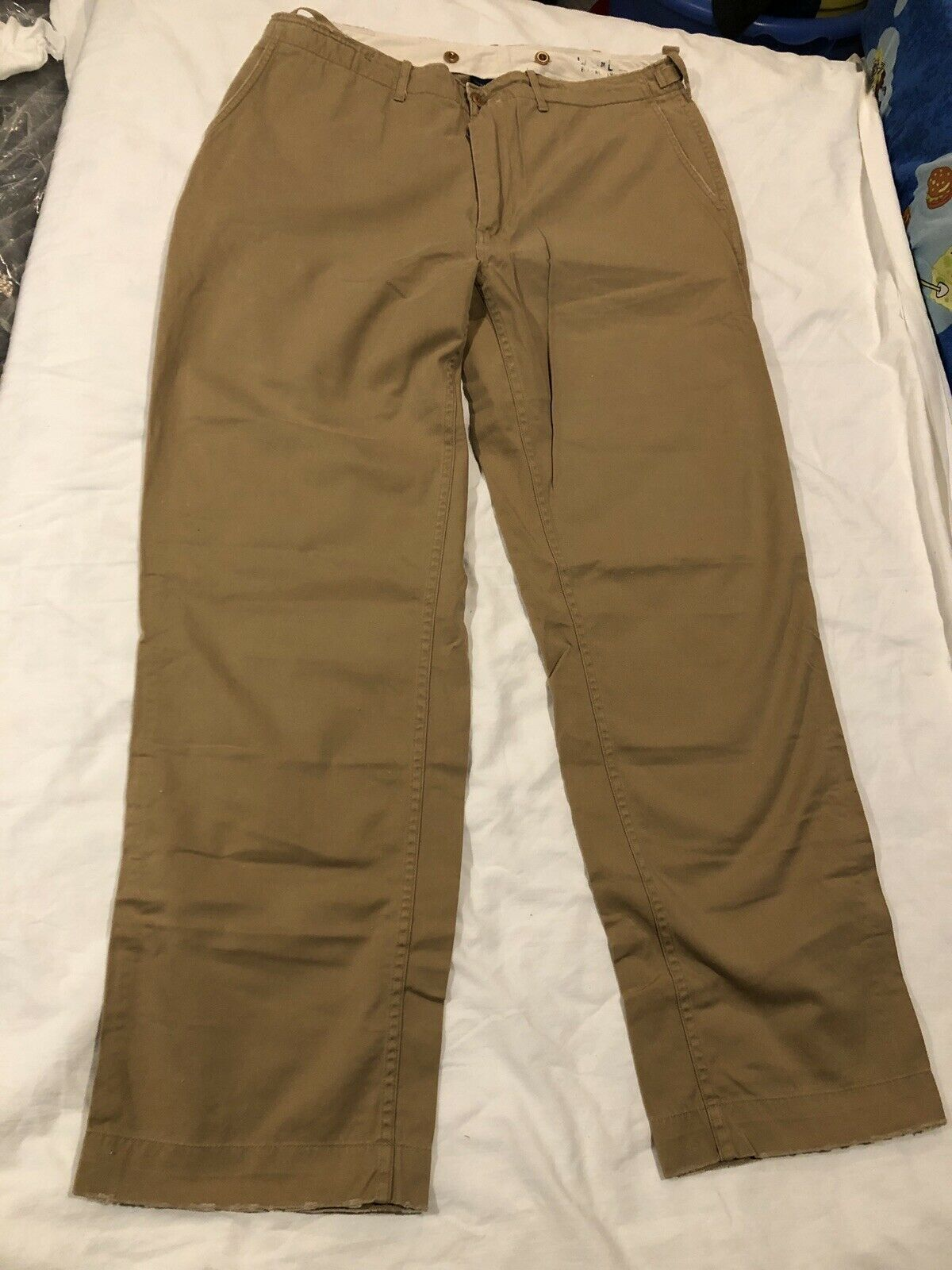 MENS POLO RALPH LAUREN STANDARD ISSUE MILITARY STYLE KHAKI TROUSER PANTS 38x32