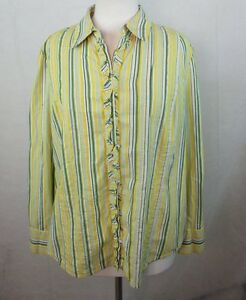Details about JONES NEW YORK Plus Size Button Down Dress Shirt, 2X, Ruffle  Trim, Striped A607