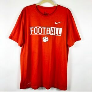 Nike-Mens-XL-Clemson-Tigers-SC-Football-Orange-Athletic-Tee-T-Shirt-College