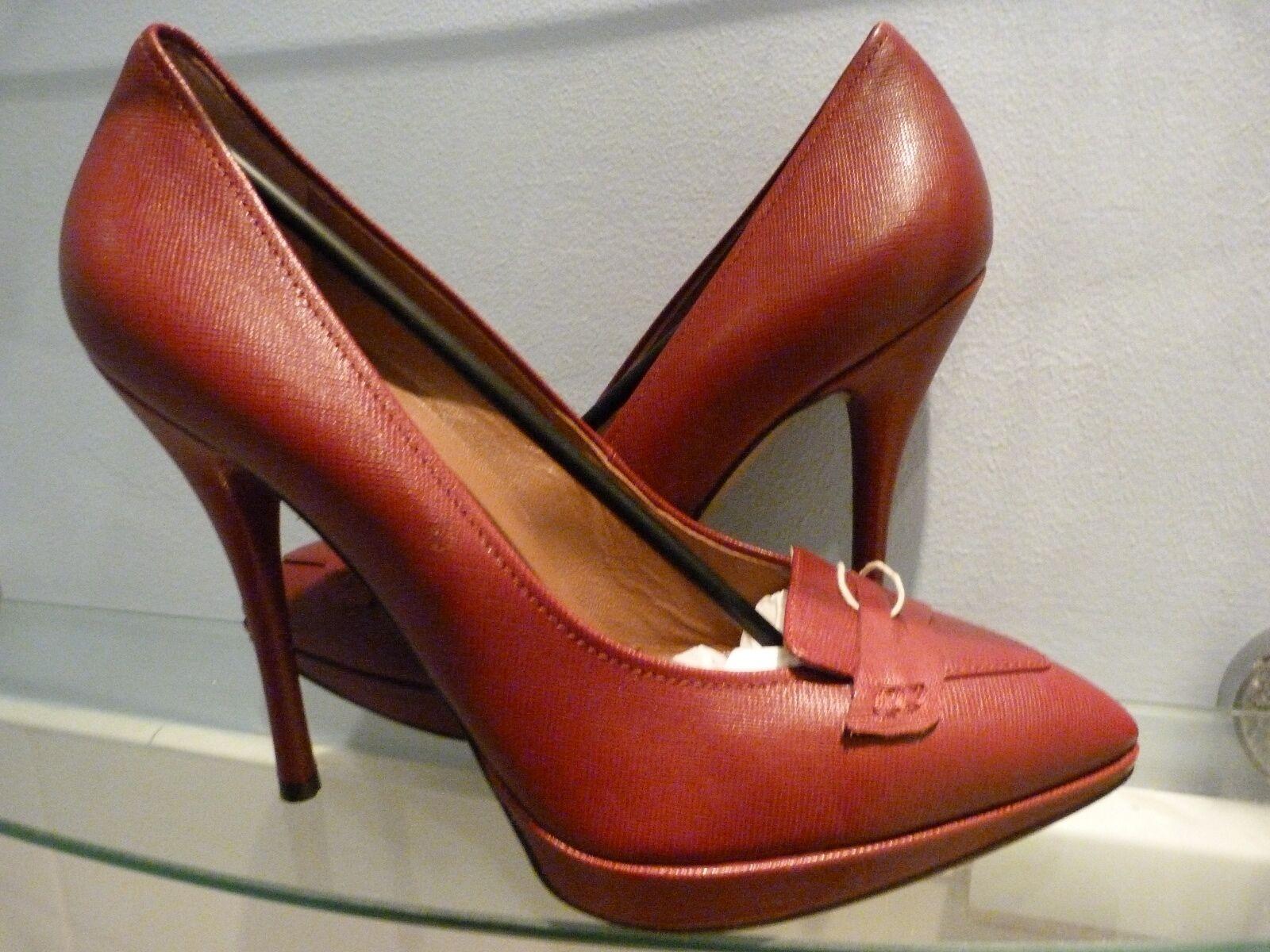 NEW L'AUTRE CHOSE SAFFIANO BORDEAUX STILETTO Schuhe .. UK 7  EU 40