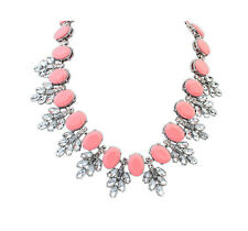 Pink Crystal Jewel Gemstone Statement Necklace - Bridal