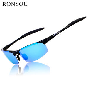 cd53a60a33 Image is loading RONSOU-Men-Sport-Al-Mg-Polarized-Sunglasses-Unbreakable-