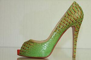 nouveaux styles f7c0c 248ca Détails sur Neuf Christian Louboutin Très Prive 120 Python Fairy Histoire  Chaussures Plates