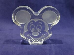 Vintage-Mickey-Mouse-Paper-Weight-Clear-Etched-Glass-Disney-Frosted