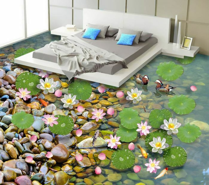 3D flower stone Stream23 Floor WallPaper Murals Wall Print Decal 5D AJ WALLPAPER