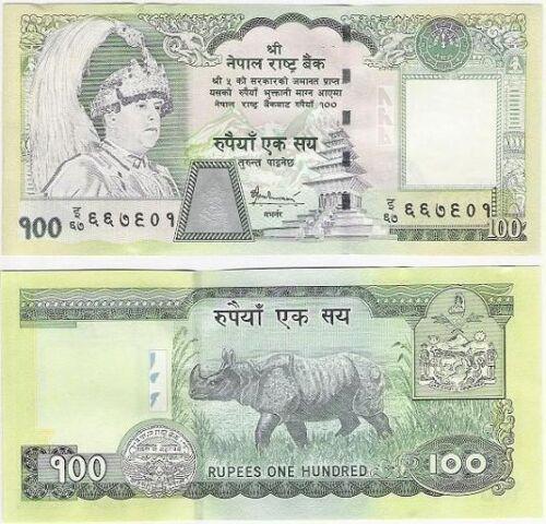 Nepal 100 Rupees ND Rhino Endangered Animal P 57 2005 SIgn 16 Asia UNC