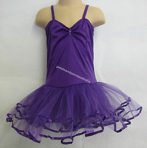 Fairy Dress Ballet Tutu Dance Costume Purple 4-6 Years Polyester Stretch Leotard