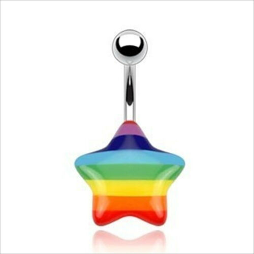 14g Acrylic Star Surgical Steel Steel Bar Navel Belly Ring Gay Pride Rainbow