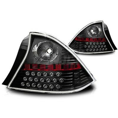 01-03 Honda Civic 2 Door Coupe Black/Clear LED Tail Lights Pair