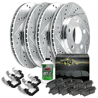 Fit 2013-2017 Cadillac XTS Front Rear Sport Drill Slot Brake Rotors+Ceramic Pads