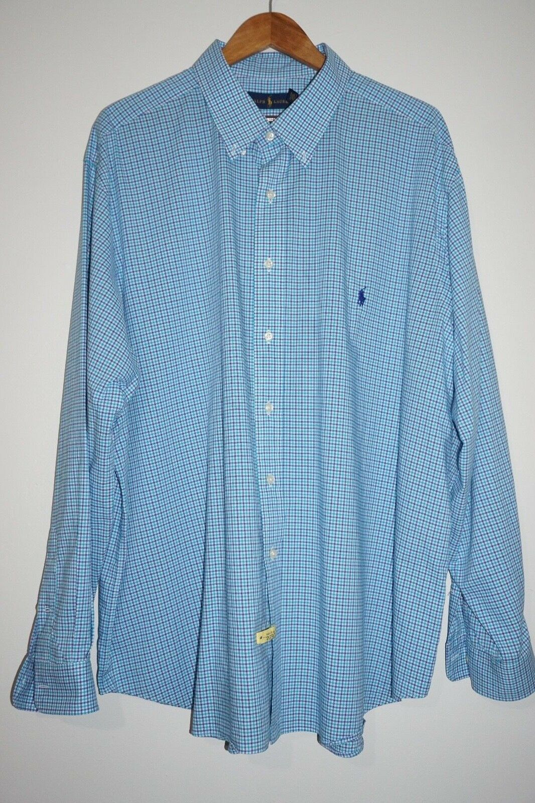 RALPH LAUREN Bleu Blanc Plaid voiturereaux Boutonnée Bleu Marine Pony Shirt Taille  2XB BIG