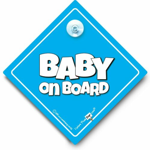 Baby On Board Sign Blue Suction Cup Car Sign Baby Boy On Board BIG TEXT