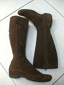 Ladies-ASH-brown-real-suede-leather-knee-high-BOOTS-UK-5-38-snow-wedge-low-heel
