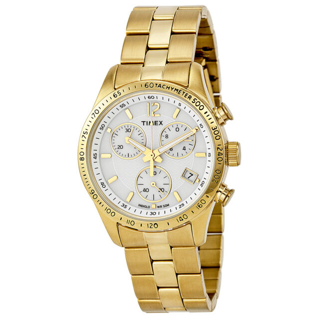 Timex Ameritus Chronograph White Dial Gold-tone Ladies Watch T2P058