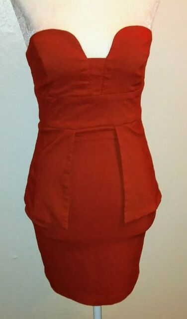 XTAREN Women's Burnt Orange Strapless Mini Peplum Zipper Dress Size Small
